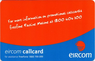 Eircom Blank Promotion Card Back