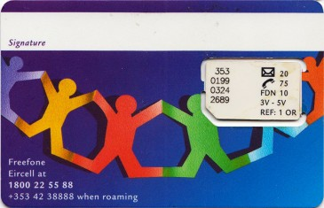 Eircell people chain GSM SIM Card Back