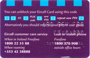 Eircell 087 network PUK code card Back