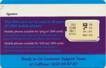 Eircell Ready to Go GSM SIM Card Back