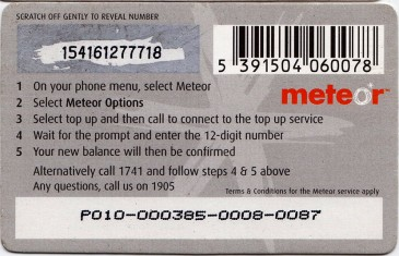 Meteor Top Up card £10 1 Back