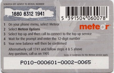 Meteor Top Up card £10 2 Back