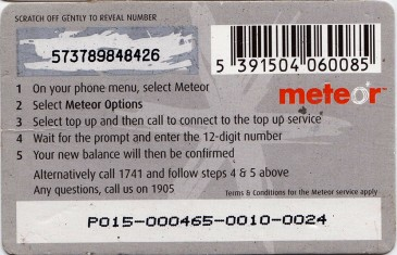 Meteor Top Up card £15 Back