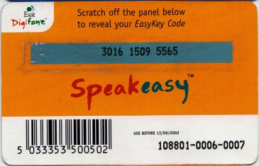 Esat Digifone Speakeasy EasyKey card £10 1 Back