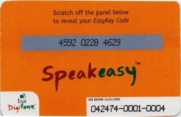Esat Digifone Speakeasy EasyKey card £10 2 Back