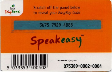 Esat Digifone Speakeasy EasyKey card £10 3 Back