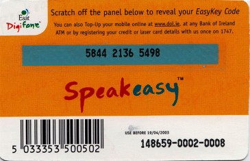 Esat Digifone Speakeasy EasyKey card £10 4 Back