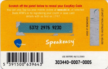 Esat Digifone Speakeasy EasyKey card £10 6 Back