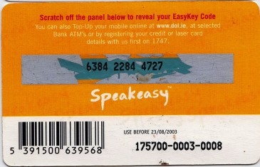 Esat Digifone Speakeasy EasyKey card £10 5 Back