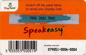 Esat Digifone Speakeasy EasyKey card £20 2 Back