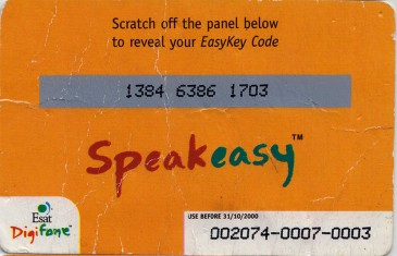 Esat Digifone Speakeasy EasyKey card £40 Back